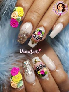 Pin by Fatima Cossio on nails Glam Nails, 3d Nails, Rose Nails, Pink Nails, Paris Nails, Crazy Nail Art, Swarovski Nails, Super Nails, Nagel Gel