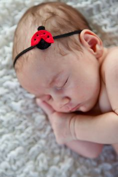 Little Lady Bug Headband for baby or girl by MotherDaughterJewel-If its a girl