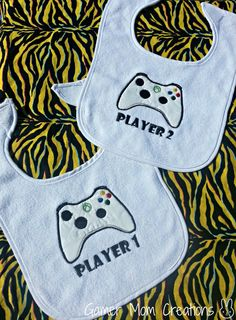 Player 1 and 2 video game twin baby bibs by GamerMomCreations, $12.20