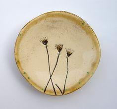 Cream and Beige Botanical Ceramic Ring Dish no 240 by SlashofBlue, $12.00