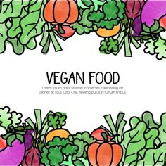 Background with hand drawn vegetarian food Free Vector