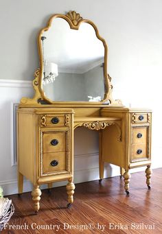 - Antique Jacobean French Country Design Ornate Hand Painted Mustard Yellow Vanity Dressing Table Makeup Table Mirror - All About MakeUp Yellow Painted Furniture, Paint Furniture, Furniture Makeover, Painting Antique Furniture, Country Furniture, Vintage Furniture, Garden Furniture, Painted Vanity, Muebles Shabby Chic