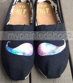 New #Galaxy# Moustache Hand Painted Shoes Galaxy shoes Galaxy Nebu,Slip-on Painted Canvas Shoes