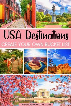 Need some destination inspiration to plan a vacation in the United States? This is the ultimate USA guide to the 45 best places to visit in the US -- must see US towns, national parks, and other beautiful sites. From sea to shining sea, you'll find exciting cites, dramatic landscapes, and historic landmarks and monuments in the US. If you're looking for the best things to do and see in the US, read on! US Itineraries | US Road Trips | Beautiful US Destinations | Best US Cities | US Bucket…