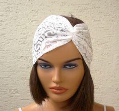 Ivory lace headband floral strech headband by KnitterPrincess, $5.50