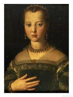 Giclee Print: Portrait of Maria De' Medici Art Print by Agnolo Bronzino by Agnolo Bronzino : 24x18in
