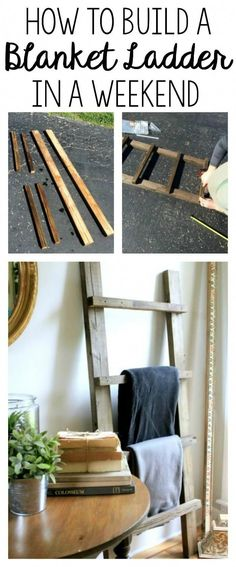 DIY Blanket Ladder - this is a great starter project for any budding DIYer. DIY Blanket Ladder – this is a great starter project for any budding DIYer. Quick and easy and ch Cool Wood Projects, Wood Projects For Beginners, Diy Furniture Projects, Wood Furniture, Furniture Plans, Projects With Scrap Wood, Diy Furniture Easy, Furniture Removal, Outdoor Projects
