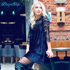 4e6874a69abe Dropship Winter 2017 Casual Sexy Dress O-neck Lace Winter Dress Patchwork  Long Sleeve Women Dress Hollow Out Plus Size Dress