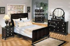 4pc California King Size Bedroom Set with Silver Handles Espresso Finish    #Bedroom-Sets #Furniture #Ikea-Bedroom #Home-Decor