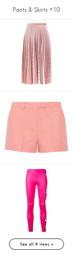 """Pants & Skirts #10"" by andriana-aaa ❤ liked on Polyvore featuring skirts, bottoms, topshop, saias, velvet midi skirt, mid calf skirts, knee length pleated skirt, velvet skirt, red midi skirt and shorts"