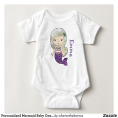 Shop Personalized Mermaid Baby One Piece Tshirt created by wheresthekarma. Mermaid Baby Showers, Baby Mermaid, Baby Shower Supplies, Personalized Baby, Baby Shower Gifts, Bodysuit, Daughter, One Piece, Purple