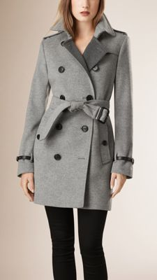 Burberry virgin wool and cashmere trench coat with a contrast tonal facing. Discover the women's outerwear collection at Burberry.com