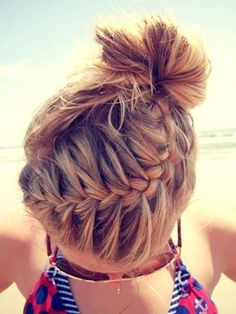 French Braid Into Ponytail | French Braid Top Knot -- Section your hair into 2 sections at the ...