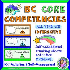 Looking for creative and fun ways to explore the new BC Core Competencies with your students? Engaging hand drawn illustrations are sure to bring smiles. This interactive resource includes hands-on activities, self-assessments, student tracking sheets Interactive Activities, Hands On Activities, Fun Activities, Classroom Organization, Classroom Management, Core Competencies, I Can Statements, Parent Communication, Self Assessment