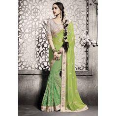 Wedding Wear Georgette Green Saree - 5006-B