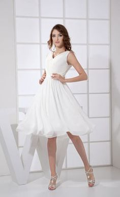 Popular V-Neck Ruched Knee-length Bridesmaid Dress