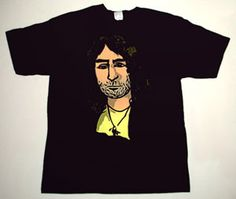 BAD COMPANY Paul Rodgers cartoon 1 DELUXE ART CUSTOM T-SHIRT   Each T-shirt is individually hand-painted, a true and unique work of art indeed!  To order this, or design your own custom T-shirt, please contact us at info@collectorware.com, or visit  http://www.collectorware.com/tees-badcompanyfree_andrelated.htm