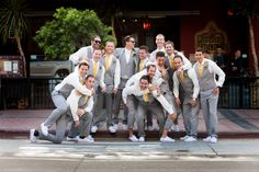 Grey No-Jacket Option | Grey and Yellow Groomsmen Attire | Swann Soirees Real San Diego Wedding Planner | Bauman Photography