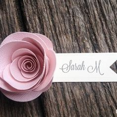 20 Handmade Rose Place Cards (Pastel Pink) pretty against a very, very pale green tablecloth for a spring wedding Wedding Name, Wedding Places, Wedding Cards, Ruby Wedding, Name Place Cards, Name Cards, Wedding Table Flowers, Wedding Decorations, Flower Places