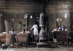 """Colorized by me: """"Colored"""" school at Anthoston Kentucky by Lewis Hine 1916. [2894x2044]"""