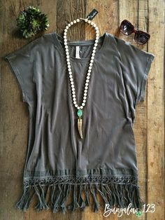 I love gray tshirts! Love the fringe detail. Willoughby Top - Grey - Bungalow 123
