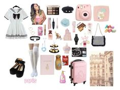 """""""paris lookbook 1"""" by princesspanty ❤ liked on Polyvore featuring one spo, Hello Kitty, Too Faced Cosmetics, Maybelline, Etude House, Dolce&Gabbana, Lenora Dame, Fujifilm, Ladurée and Dove"""
