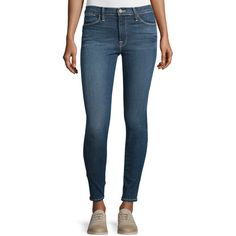 FRAME DENIM Le High Skinny Ankle Jeans ($225) ❤ liked on Polyvore featuring jeans, rhoads, blue jeans, faded jeans, super skinny jeans, skinny fit jeans and skinny leg jeans