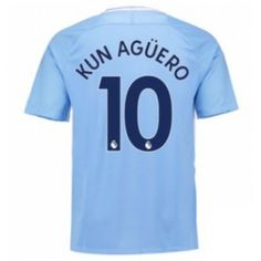 Manchester City Home Stadium Shirt with Kun Agüero 10 printing Manchester City, Manchester United, Sergio Aguero, Kun Aguero, Thing 1, Football Kits, Shirt Style, Mens Tops, Shirts