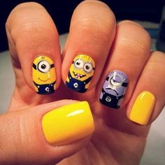 Purple Minion Nail Art Ideas
