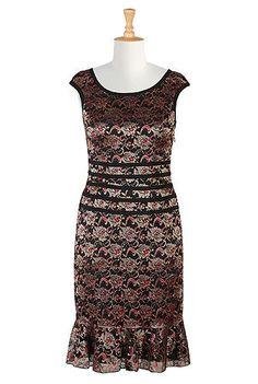 Floral lace flounce hem sheath dress