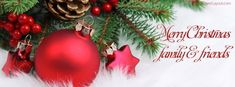 Red Holiday Decor Merry Christmas Family Friends Facebook Cover