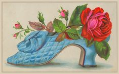 victorian calling cards | 748 Victorian Scrap calling card roses shoe