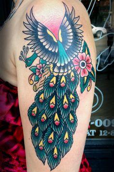 #peacock #tattoo based on #BobShaw flash contact: madebylaurenb@gmail.com