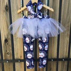 Custom Baseball Design Collar Shirt Tutu Leggings by PickeeKids