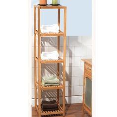 @Overstock.com - This five-tier shelf provides convenient storage for all of your bathroom accessories. With a natural bamboo finish, this shelf will look great in any bathroom.  http://www.overstock.com/Home-Garden/Bamboo-5-tier-Shelf/6148704/product.html?CID=214117 $58.99