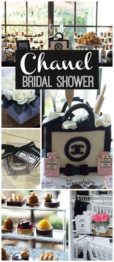 Love this classic Chanel bridal shower in black, white, and pink! See more party ideas at CatchMyParty.com!