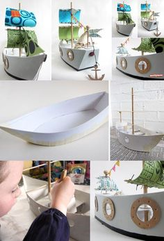 Handmade Paper Pirates Ship Toy: