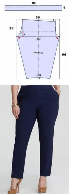 Estrecho bryuchki a 54 dimensión, cosemos en una tarde. Sewing Dress, Sewing Pants, Dress Sewing Patterns, Sewing Clothes, Clothing Patterns, Diy Clothes, Costura Fashion, Sewing Lessons, Pants Pattern