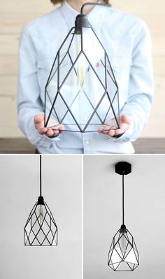 This geometric black glass pendant light is modern and unique.