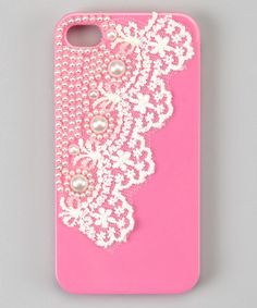 Pink Pearl Lace Case for iPhone 4 by Zulily