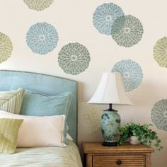 Summer Blossom Wall Art Stencil by Cutting Edge Stencils.  http://www.cuttingedgestencils.com/flower-stencils-summer-blossom-floral-wall-stencil-design.html?utm_source=JCG&utm_medium=Pinterest&utm_campaign=Summer%20Blossom%20Wall%20Art%20Stencil