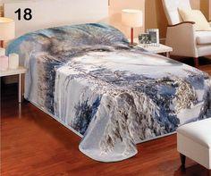 Denní bílá deka na postel s motivem husky