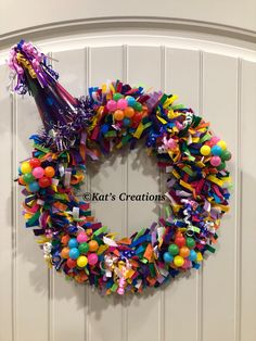 Birthday Party Celebration Wreath The best of two options, leave as a wreath or remove the party hat and use as a centerpiece for the cake or cupcakes. Can be reused year after year. Fabric Wreath, Diy Wreath, Rag Wreaths, Beach Wreaths, Wreath Ideas, Door Wreaths, Office Party Decorations, Balloon Centerpieces, Christmas Centerpieces