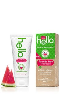 Hello Oral Care Kids Fluoride Free Toothpaste Natural Watermelon 4.2 Ounce
