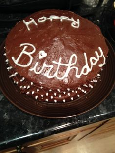 Happy birthday cake. First time I've piped writing so it's a little dodgy