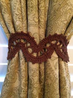 Crochet Curtain Tieback - Brown by JinesCrafts on Etsy