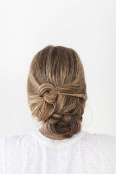 Messy braided updo.