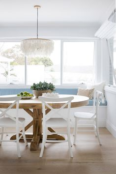 """Read our recap of Three Birds Renovations """"Colour Me Hamptons"""" kitchen, dining and lounge space. Hamptons Kitchen, Hamptons House, The Hamptons, Architecture Renovation, Three Birds Renovations, House Renovations, Kitchen Renovations, House Remodeling, Dining Nook"""