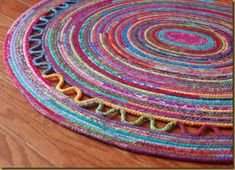 Rug made with clothesline and batiks