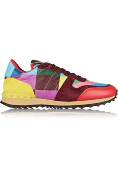 Valentino | 1973 Rockrunner suede-paneled printed leather sneakers |